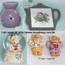 Ceramic and polyresin gift items - incense burners, magnets, heat tiles, snow globes (Hong Kong)