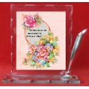 11.5 x 11.5 cm  Glass Plaque with Pen Holder (Hong Kong)