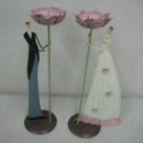 Set of 2 Wedding Groom and Bride Holding Flower Candle Holder (Mainland China)