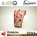"1.5"" Valentine's Day Love Pattern Lmitation Glitter Printing Polyester Wire Ribbon (Taiwan)"