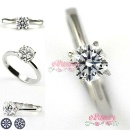 925 Sterling Silver with White Gold Plated 8 Hearts 8 Arrows  Engagement Ring (Hong Kong)