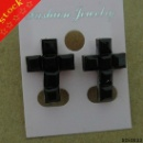 Square Crystal Cross Stud Earring (Mainland China)