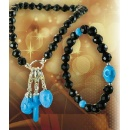 Black Obsidian Bracelets with Fashion Natural Stabilised Turquoise Charms (Hong Kong)