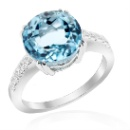 Rhodium Plated Silver Ring with Blue Topaz and Cubic Zirconia (Thailand)