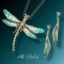 Enamel Dragonfly Earrings & Necklace 18K Gold (Thailand)