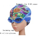 Cartoon Cute Small Crab Advanced Waterproof Anti-fog Silicone Goggles + Swimming Cap Set (Hong Kong)