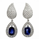 GIA Sapphire Diamond 18K Gold Day & Night Drop Earrings (USA)