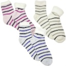 Lurex Stripe Socks With Fluffy Lining (Hong Kong)