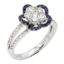18K White and Black Gold Cluster Diamond and Sapphire Floral Ring (Hong Kong)