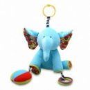 Baby Stuffed Soft Toy, in Elephant Design, with Crinkle, Squeaker, Teether and Hook (Hong Kong)