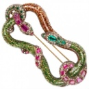 Circa 1830 Snake Emerald Ruby Diamond (Monaco)