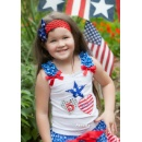 Girls Personalized Name & Number 4th July Birthday Tank Top (Hong Kong)