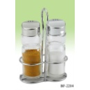 Salt and Pepper Set with Metal Rack (Hong Kong)
