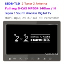 ISDB-T10 2 Tuner 2 Antenna 10.1 inch Full Seg Digital TV Receiver for Japan (China)