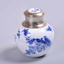 Blue & White Ceramic Caddy with Tin Cover (China)