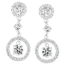 Genuine Rhodium Plated Earrings Dangles Featuring Prong Set Round Cut Cubic Zirconia Earring Silver  (China)