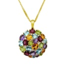 14K Yellow Gold Multi-Color Gemstones Pendant (without chain) (Hong Kong)