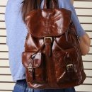 Ladies Waxed Leather Backpack School Bag with Rope Closure and Flap Cover (Mainland China)