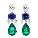 Gems Pavilion Masterpiece Blue Sapphire and Emerald Earring (Thailand)