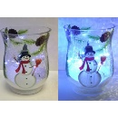 Hand Painted Glass Snowman Candle Holder with Light String (Hong Kong)