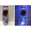 Hand Painted Crackle Glass Poinsettia Vase with Light String (Hong Kong)