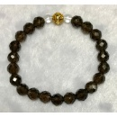 8mm Faceted Smoky Quartz Bracelet with Alloy Wealthy Bead (Hong Kong)