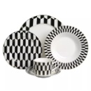 Elegant Porcelain 20 Pieces Dinner Set Black and White Pattern (Hong Kong)