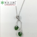 Silver Heart with Two Green Crystal Heart Necklace (Hong Kong)