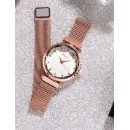 Quartz Analog Watch with Magnet Buckle Mesh Belt (Mainland China)