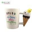 Ceramic Lovely Ice-Cream Solves Everything Mug with Unique Handle (Hong Kong)
