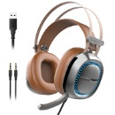 Senicc W245 Cool LED PU Leather Gaming Headphones Headset with 3.5mm and USB Plug (Mainland China)