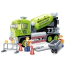 Puzzle small building blocks toy model diy 2 in 1 cement mixer truck clean road car (Hong Kong)