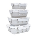 Glass food container with silicone sleeve glass containers for food storage oven microwave safe sili (Mainland China)