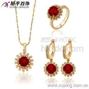 18k Gold Color Xuping Fashion CZ Crystal Imitation  Jewelry Set (China)