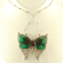 Platinum Diamond Emerald Butterfly Pendant Necklace (United Kingdom)