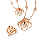 18K Rose Gold Diamond Ring and Necklace (China)