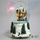 Junxin Christmas ST. Claus Rotating Reindeer LED-ILLU House Water Globe Resin Base 6inchH MusicalBox (China)