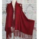 Ladies Knit Cape with Fur Trim (China)
