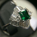 Emerald Diamond Platinum Ring (Hong Kong)