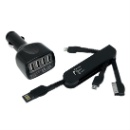 4 USB Car Charger with Foldable 3 in 1 Cable  (Hong Kong)