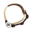 Wrap Bracelet with Tiger Eye Beads on Genuine Brown Leather Strip (Hong Kong)