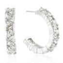 Genuine Rhodium Plated Earrings with Cubic Zirconia Hoop Design Silver Earring  (China)