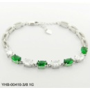 Round-Shaped Emerald 925 Silver Bracelet (Hong Kong)