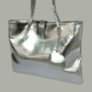 Silver PU Tote with Heart Dangle (Hong Kong)