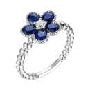 Floral Ring with Sapphire (Hong Kong)