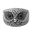 Oxidized Sterling Silver Band Ring Owl Silver Ring  (China)