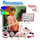 Set3 with music board, maracas, claves, triangle, kastagnetteen, percussion for 2-10 years (Taiwan)